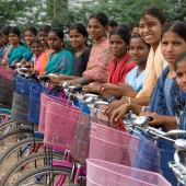 ©Nagappa. WDT allots bicycles for girls to encourage their continuance in high school.